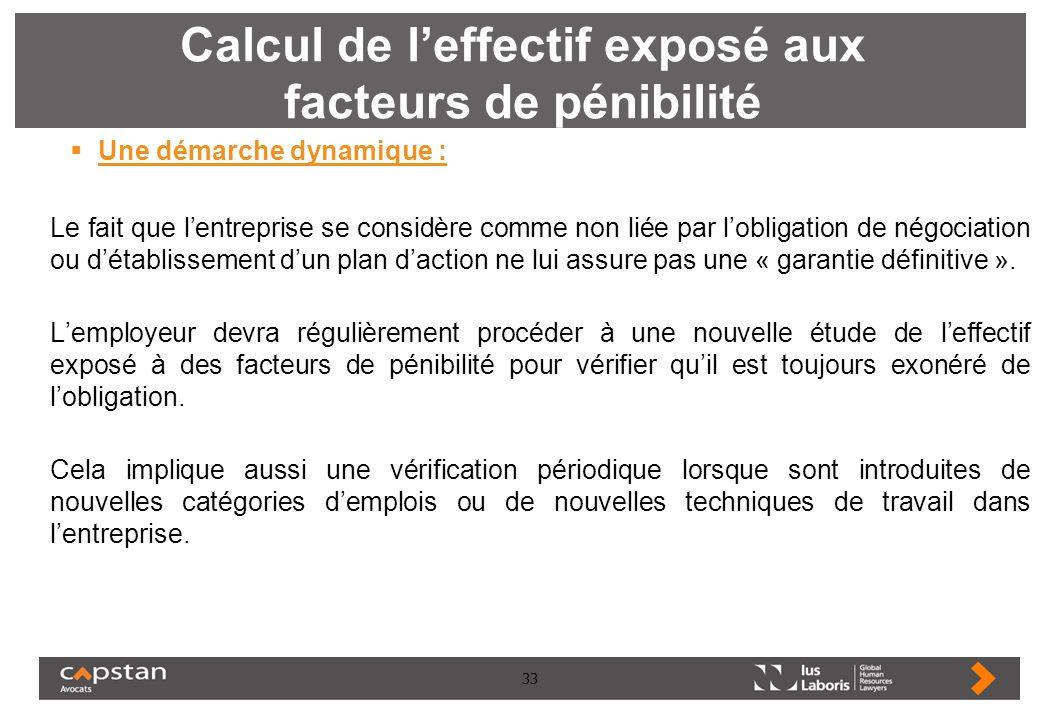 33 Calcul de leffectif exposé aux facteurs de pénibilité Une démarche dynamique : Le fait que lentreprise se considère comme non liée par lobligation
