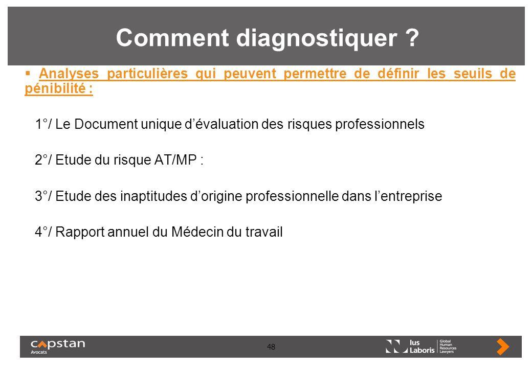 48 Comment diagnostiquer ? Analyses particulières qui peuvent permettre de définir les seuils de pénibilité : 1°/ Le Document unique dévaluation des r