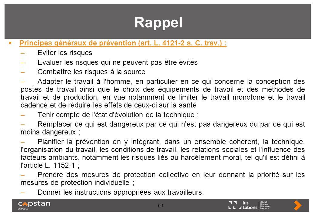 60 Rappel Principes généraux de prévention (art. L. 4121-2 s. C. trav.) : –Eviter les risques –Evaluer les risques qui ne peuvent pas être évités –Com