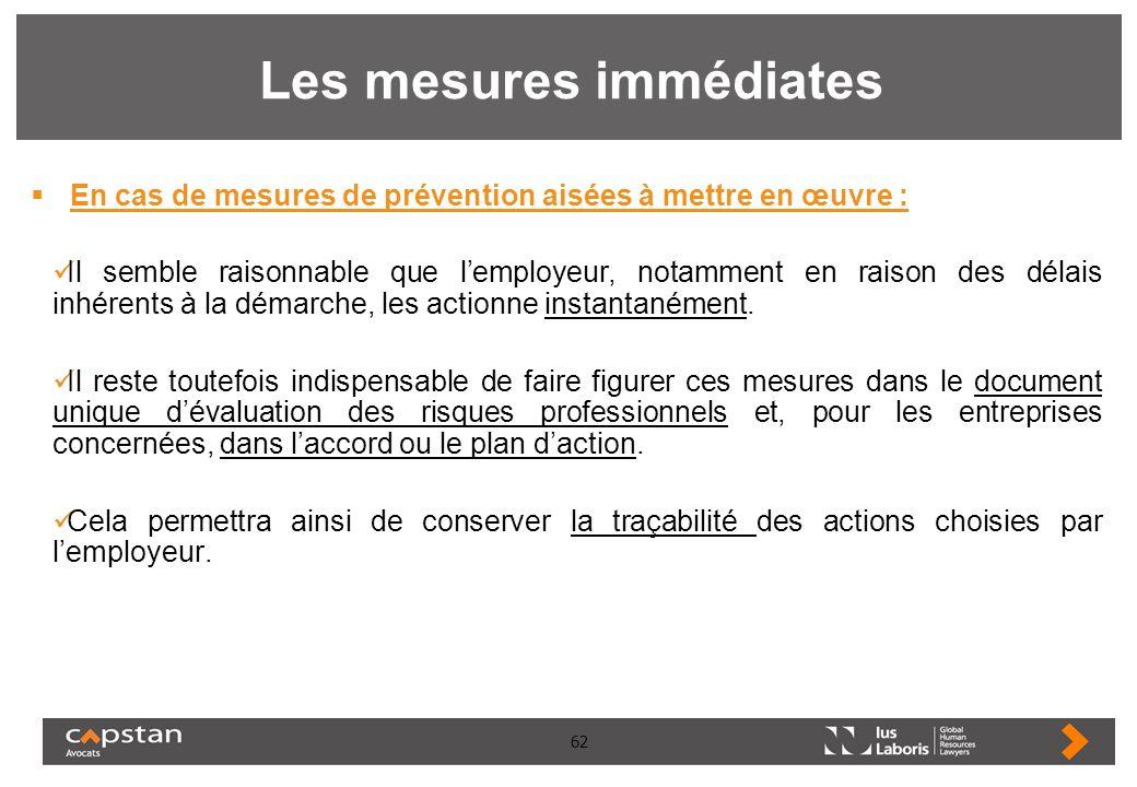 62 Les mesures immédiates En cas de mesures de prévention aisées à mettre en œuvre : Il semble raisonnable que lemployeur, notamment en raison des dél
