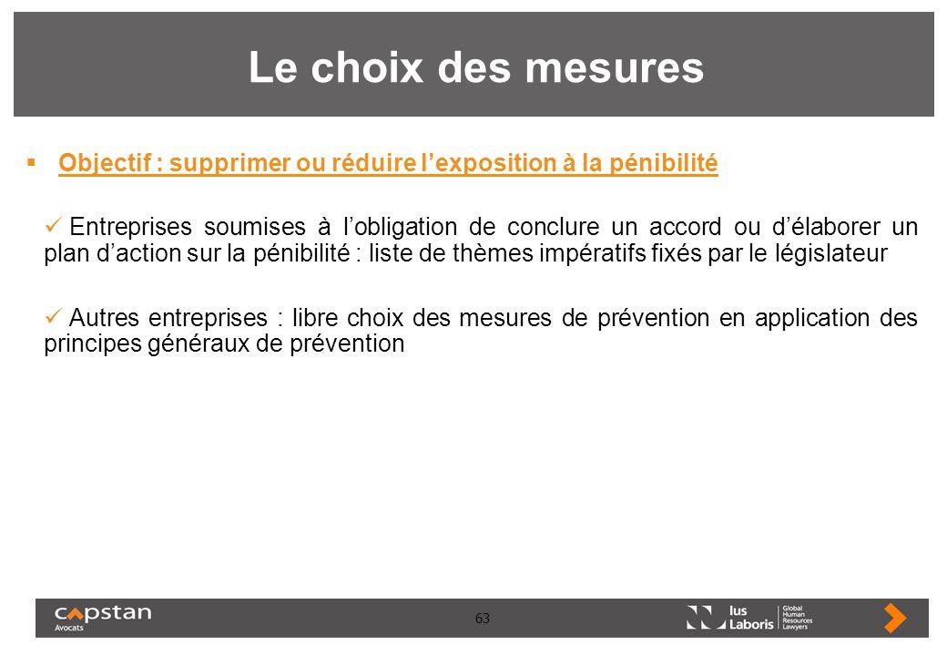 63 Le choix des mesures Objectif : supprimer ou réduire lexposition à la pénibilité Entreprises soumises à lobligation de conclure un accord ou délabo