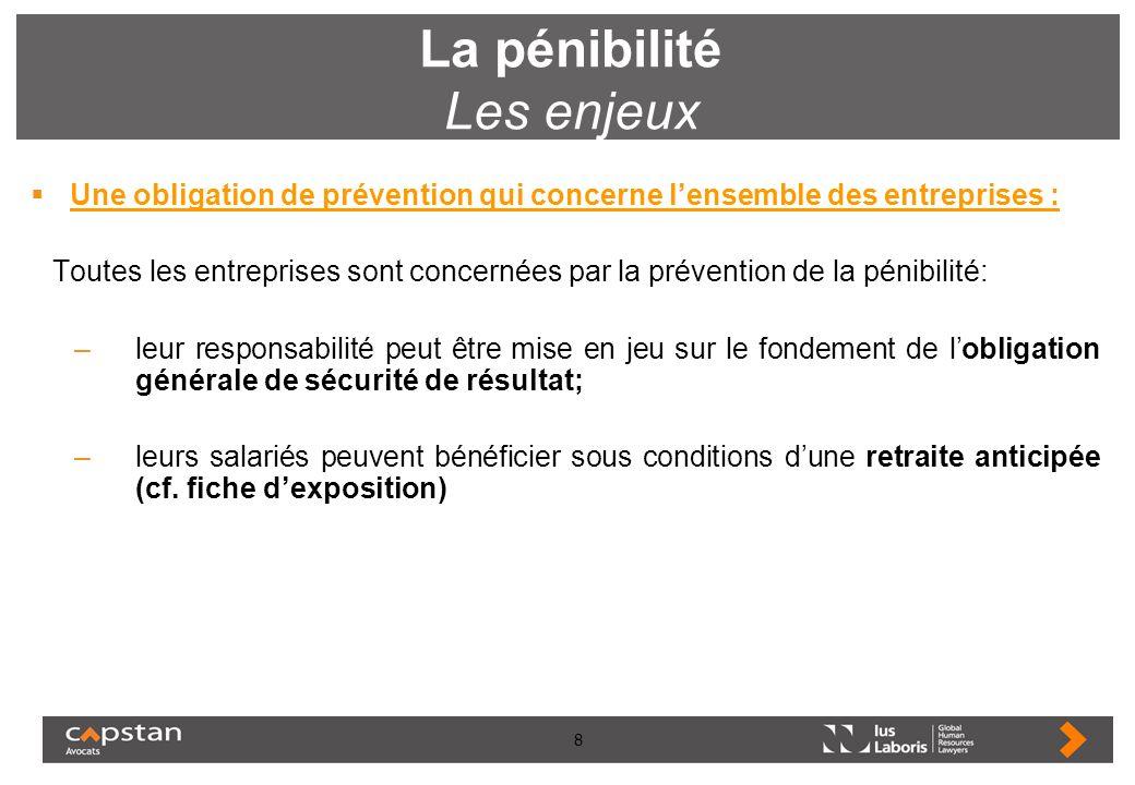 8 La pénibilité Les enjeux Une obligation de prévention qui concerne lensemble des entreprises : Toutes les entreprises sont concernées par la prévent