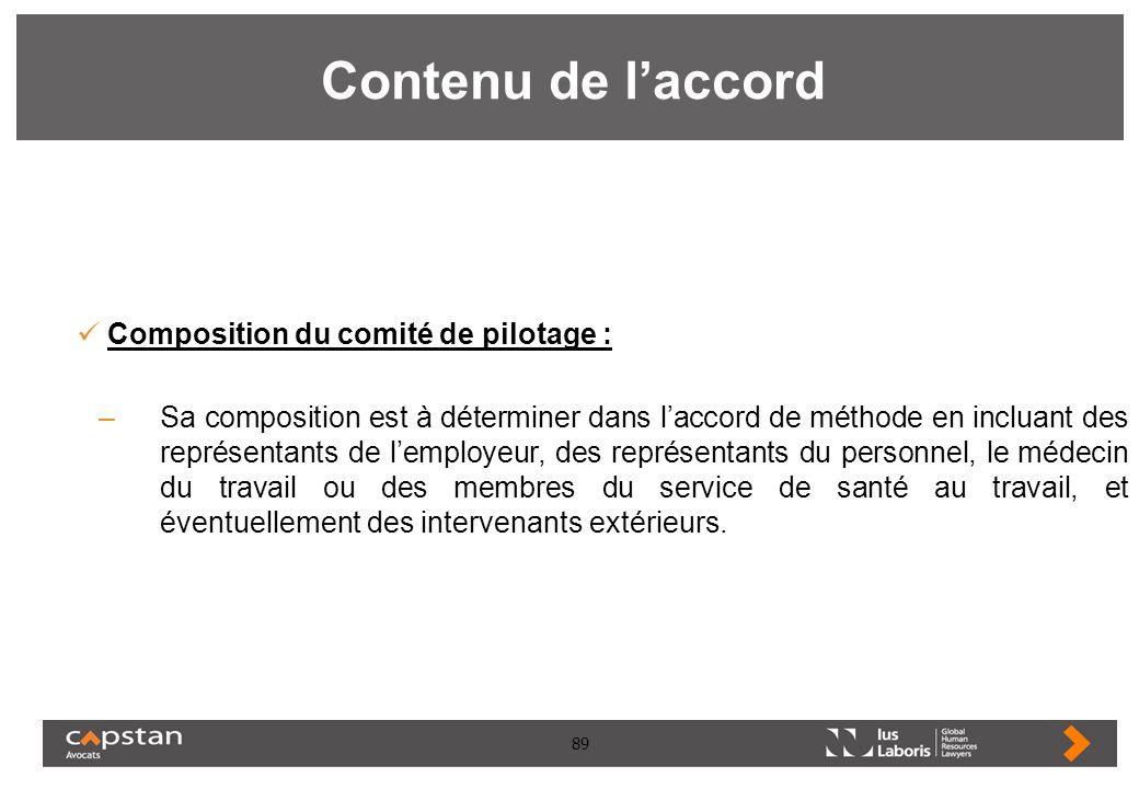 89 Contenu de laccord Composition du comité de pilotage : –Sa composition est à déterminer dans laccord de méthode en incluant des représentants de le