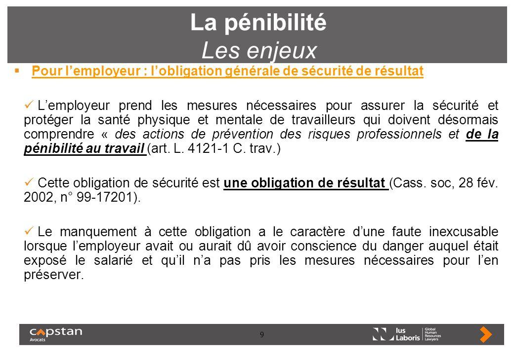 9 La pénibilité Les enjeux Pour lemployeur : lobligation générale de sécurité de résultat Lemployeur prend les mesures nécessaires pour assurer la séc