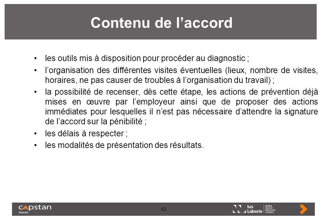 92 Contenu de laccord les outils mis à disposition pour procéder au diagnostic ; lorganisation des différentes visites éventuelles (lieux, nombre de v