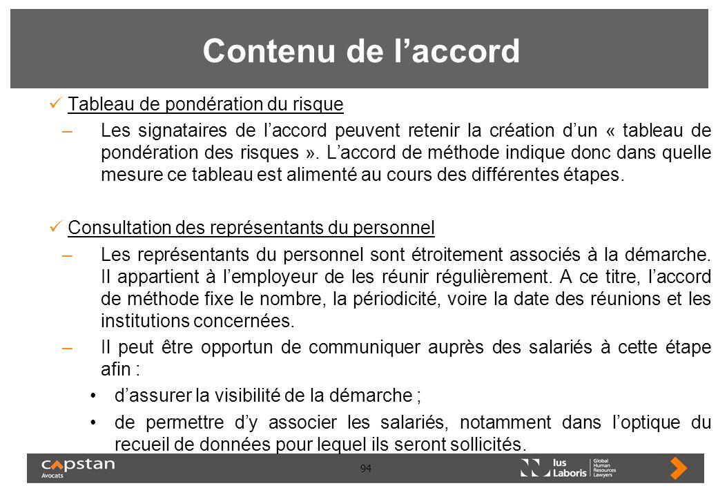 94 Contenu de laccord Tableau de pondération du risque –Les signataires de laccord peuvent retenir la création dun « tableau de pondération des risque