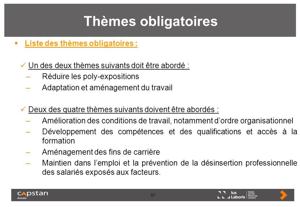 97 Thèmes obligatoires Liste des thèmes obligatoires : Un des deux thèmes suivants doit être abordé : –Réduire les poly-expositions –Adaptation et amé