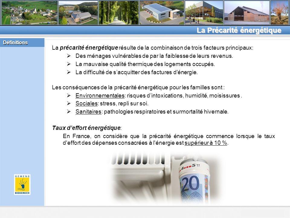 Beckerich, le 8.2.2011 La Précarité énergétique La précarité énergétique résulte de la combinaison de trois facteurs principaux: Des ménages vulnérables de par la faiblesse de leurs revenus.