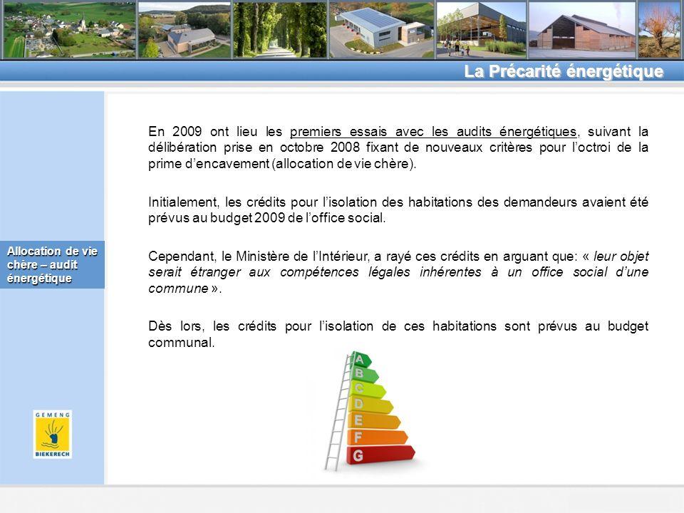Beckerich, le 8.2.2011 La Précarité énergétique Allocation de vie chère – audit énergétique En 2009 ont lieu les premiers essais avec les audits énergétiques, suivant la délibération prise en octobre 2008 fixant de nouveaux critères pour loctroi de la prime dencavement (allocation de vie chère).