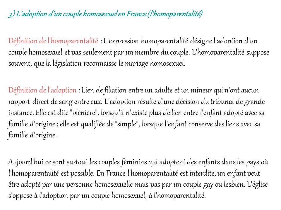 3) L'adoption d'un couple homosexuel en France (l'homoparentalité) Définition de l'homoparentalité : L'expression homoparentalité désigne l'adoption d