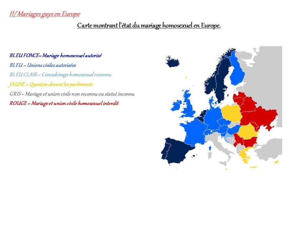 II/ Mariages gays en Europe BLEU FONCE= Mariage homosexuel autorisé BLEU = Unions civiles autorisées BLEU CLAIR = Concubinage homosexuel reconnu JAUNE