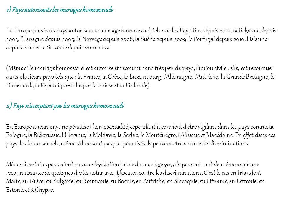 1) Pays autorisants les mariages homosexuels En Europe plusieurs pays autorisent le mariage homosexuel, tels que les Pays-Bas depuis 2001, la Belgique