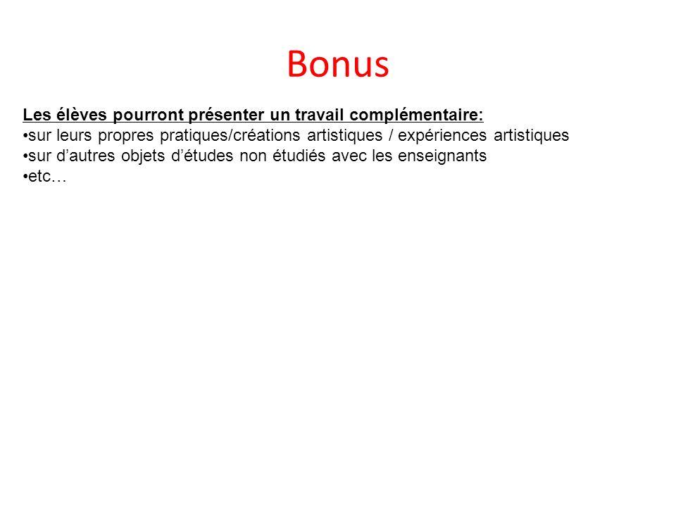 Bonus Les élèves pourront présenter un travail complémentaire: sur leurs propres pratiques/créations artistiques / expériences artistiques sur dautres