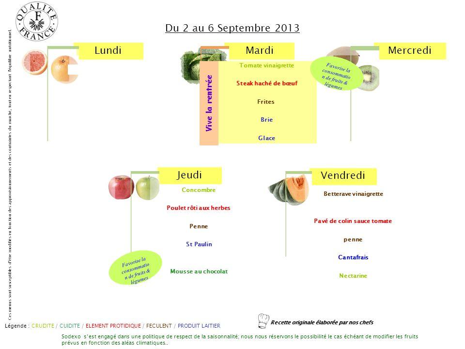 LundiMardiMercredi Jeudi Vendredi Ces menus sont susceptibles d'être modifiés en fonction des approvisionnements et des contraintes du marché, tout en