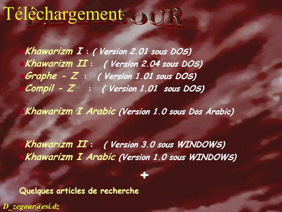 D.E ZEGOUR www.multimania.com/zegour 23 telechargement Khawarizm I : ( Version 2.01 sous DOS) Khawarizm II : ( Version 2.04 sous DOS) Graphe - Z : ( V