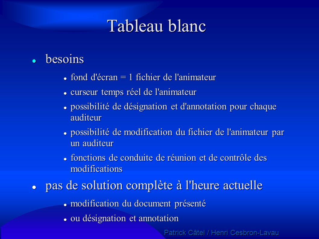 Patrick Câtel / Henri Cesbron-Lavau Patrick Câtel / Henri Cesbron-Lavau Tableau blanc besoins besoins fond d'écran = 1 fichier de l'animateur fond d'é