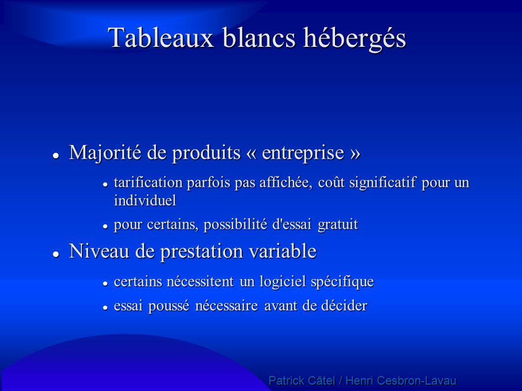 Tableaux blancs hébergés Majorité de produits « entreprise » Majorité de produits « entreprise » tarification parfois pas affichée, coût significatif