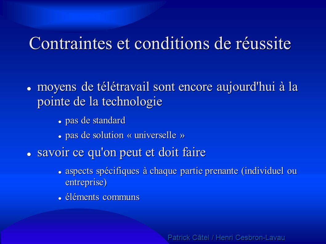 Patrick Câtel / Henri Cesbron-Lavau Patrick Câtel / Henri Cesbron-Lavau Contraintes et conditions de réussite moyens de télétravail sont encore aujour