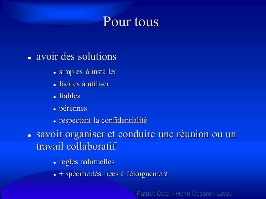 Patrick Câtel / Henri Cesbron-Lavau Patrick Câtel / Henri Cesbron-Lavau Pour tous avoir des solutions avoir des solutions simples à installer simples