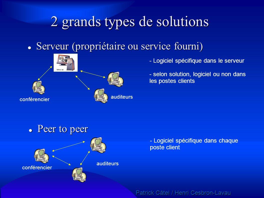 Patrick Câtel / Henri Cesbron-Lavau Patrick Câtel / Henri Cesbron-Lavau 2 grands types de solutions Serveur (propriétaire ou service fourni) Serveur (