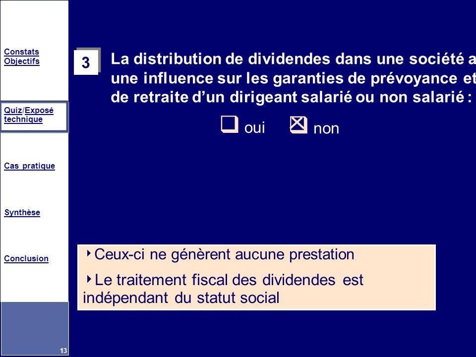 Constats Objectifs QuizQuiz/Exposé techniqueExposé technique Cas pratique Synthèse Conclusion 13 3 3 La distribution de dividendes dans une société a