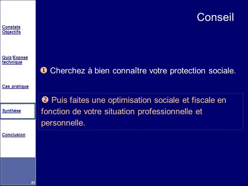Constats Objectifs QuizQuiz/Exposé techniqueExposé technique Cas pratique Synthèse Conclusion 21 Conseil Puis faites une optimisation sociale et fisca