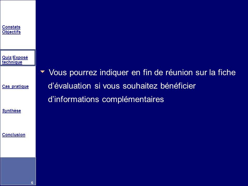 Constats Objectifs QuizQuiz/Exposé techniqueExposé technique Cas pratique Synthèse Conclusion 6 Vous pourrez indiquer en fin de réunion sur la fiche d