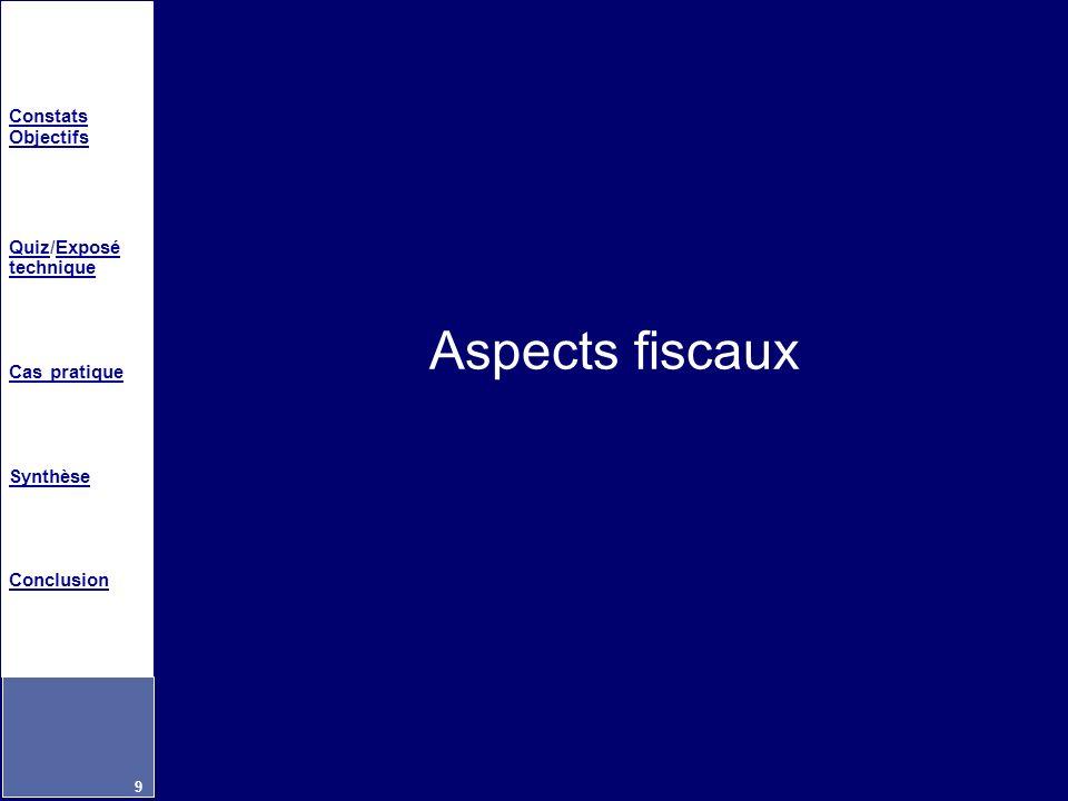 Constats Objectifs QuizQuiz/Exposé techniqueExposé technique Cas pratique Synthèse Conclusion 9 Aspects fiscaux