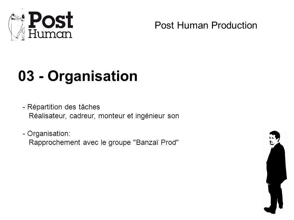 03 - Organisation Post Human Production - Répartition des tâches Réalisateur, cadreur, monteur et ingénieur son - Organisation: Rapprochement avec le