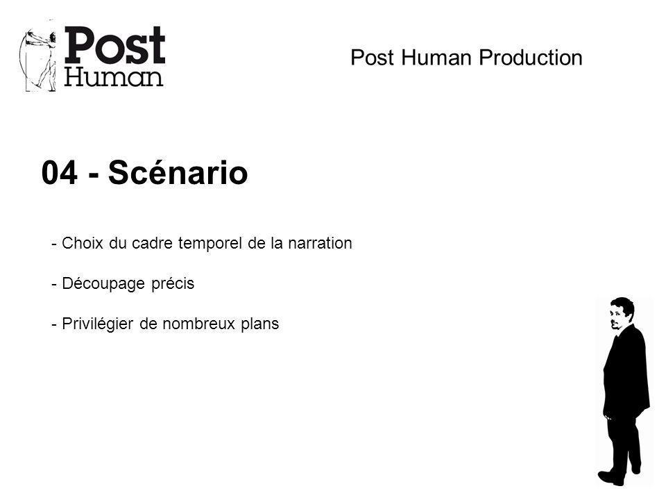 04 - Scénario Post Human Production - Choix du cadre temporel de la narration - Découpage précis - Privilégier de nombreux plans