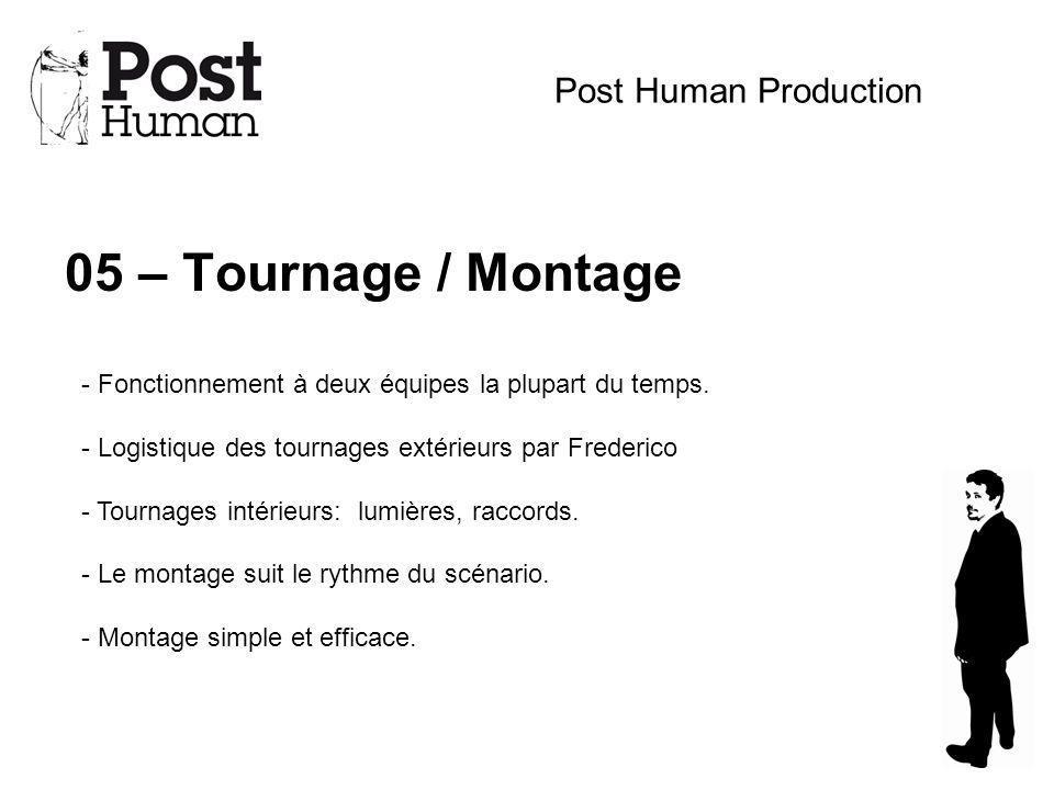 05 – Tournage / Montage Post Human Production - Fonctionnement à deux équipes la plupart du temps. - Logistique des tournages extérieurs par Frederico