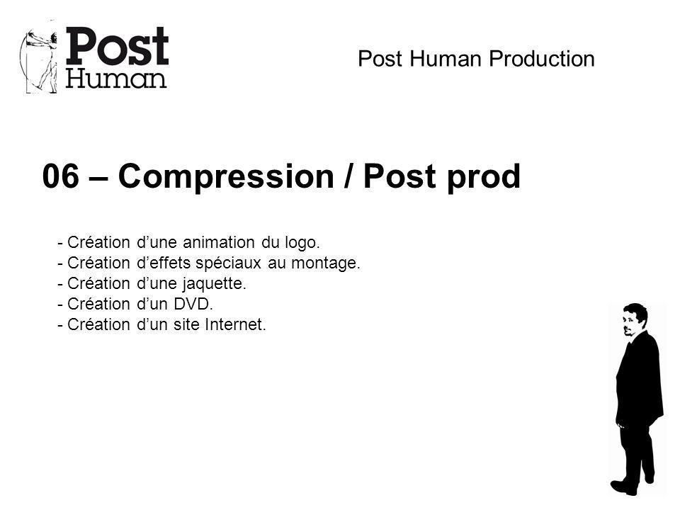 06 – Compression / Post prod Post Human Production - Création dune animation du logo. - Création deffets spéciaux au montage. - Création dune jaquette