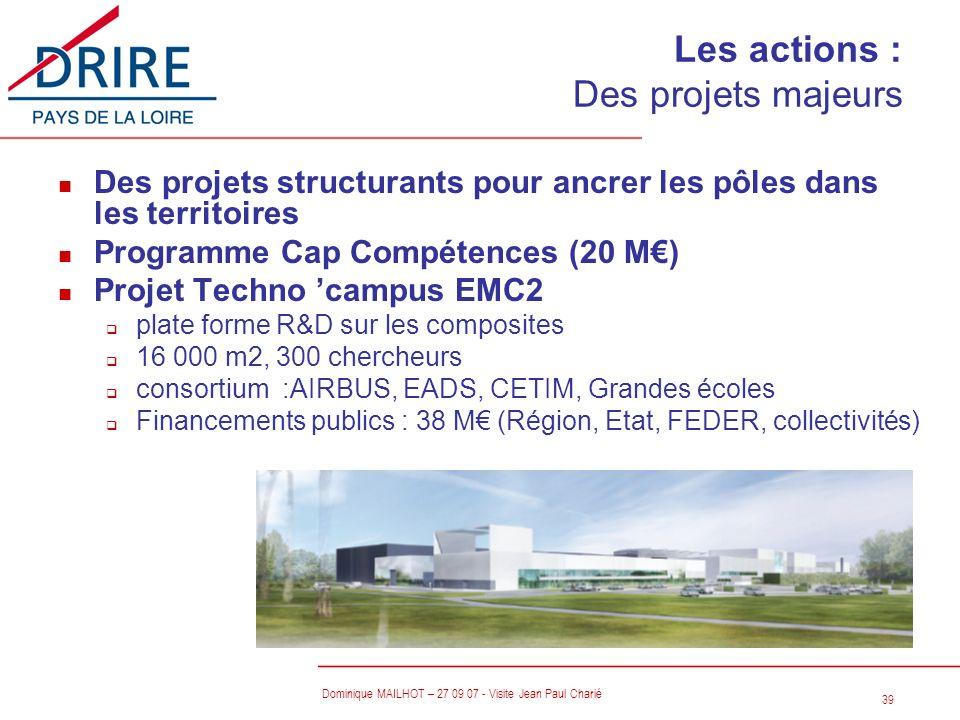 39 Dominique MAILHOT – 27 09 07 - Visite Jean Paul Charié n Des projets structurants pour ancrer les pôles dans les territoires n Programme Cap Compét
