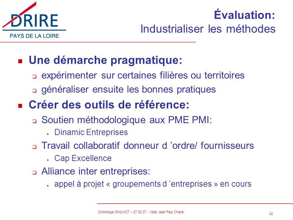 42 Dominique MAILHOT – 27 09 07 - Visite Jean Paul Charié Évaluation: Industrialiser les méthodes n Une démarche pragmatique: q expérimenter sur certa
