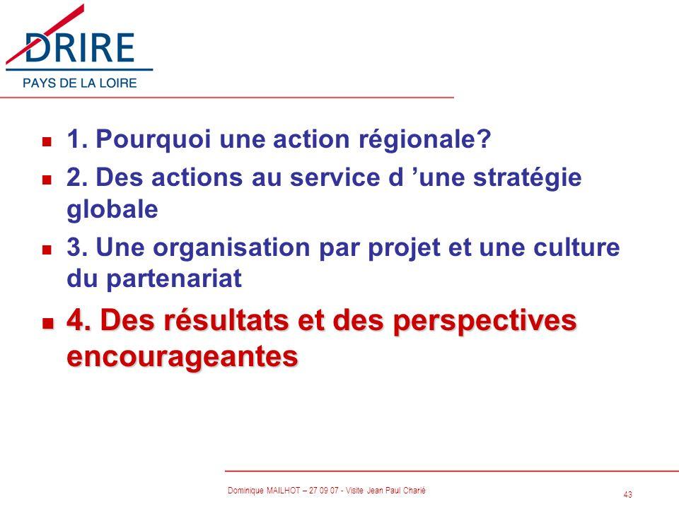 43 Dominique MAILHOT – 27 09 07 - Visite Jean Paul Charié n 1. Pourquoi une action régionale? n 2. Des actions au service d une stratégie globale n 3.