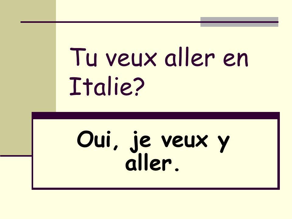 Tu veux aller en Italie? Oui, je veux y aller.