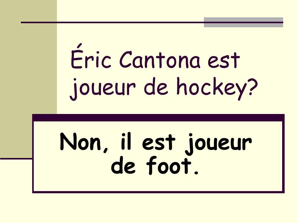 Éric Cantona est joueur de hockey? Non, il est joueur de foot.