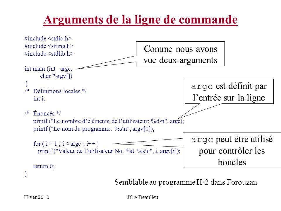 Hiver 2010JGA Beaulieu Arguments de la ligne de commande #include int main (int argc, char *argv[]) { /*Définitions locales */ int i; /*Énoncés */ pri