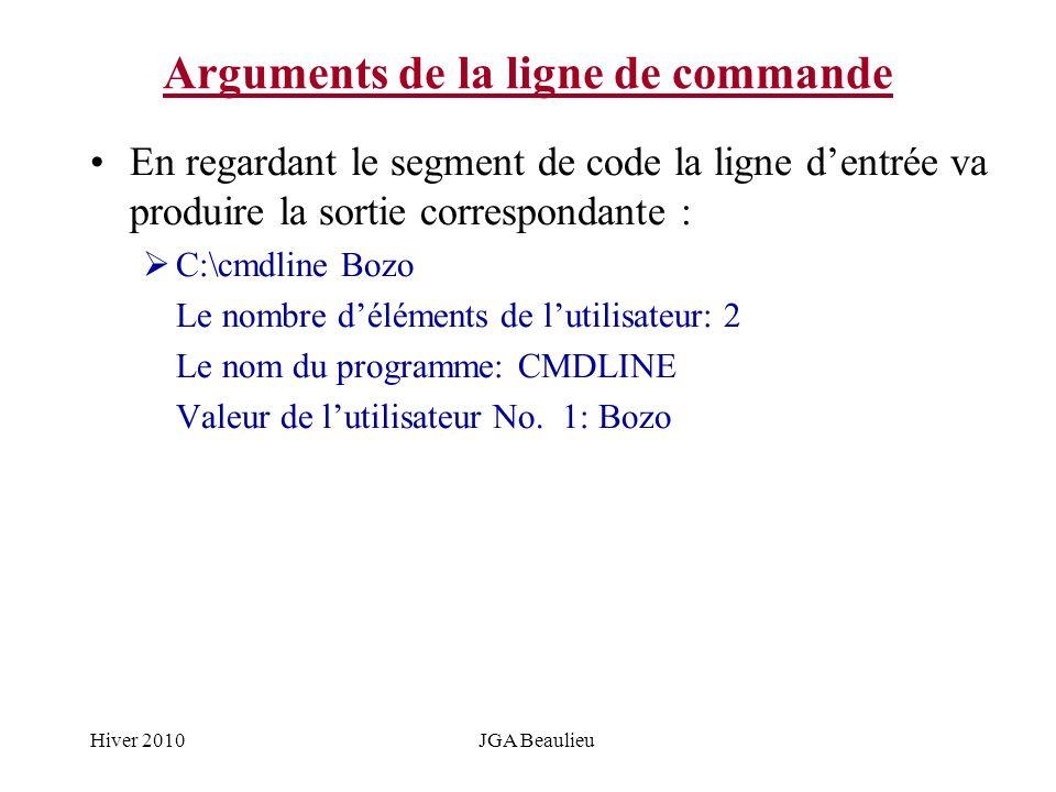Hiver 2010JGA Beaulieu Arguments de la ligne de commande En regardant le segment de code la ligne dentrée va produire la sortie correspondante : C:\cm
