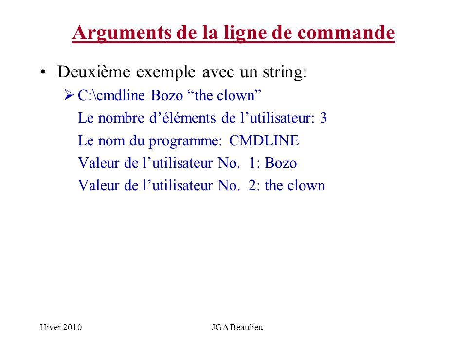 Hiver 2010JGA Beaulieu Arguments de la ligne de commande Deuxième exemple avec un string: C:\cmdline Bozo the clown Le nombre déléments de lutilisateu