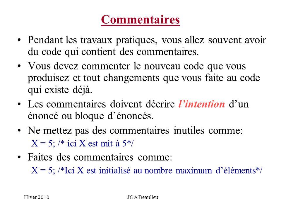 Hiver 2010JGA Beaulieu Commentaires Pendant les travaux pratiques, vous allez souvent avoir du code qui contient des commentaires. Vous devez commente