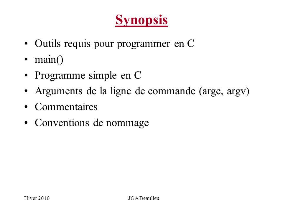 Hiver 2010JGA Beaulieu Synopsis Outils requis pour programmer en C main() Programme simple en C Arguments de la ligne de commande (argc, argv) Comment