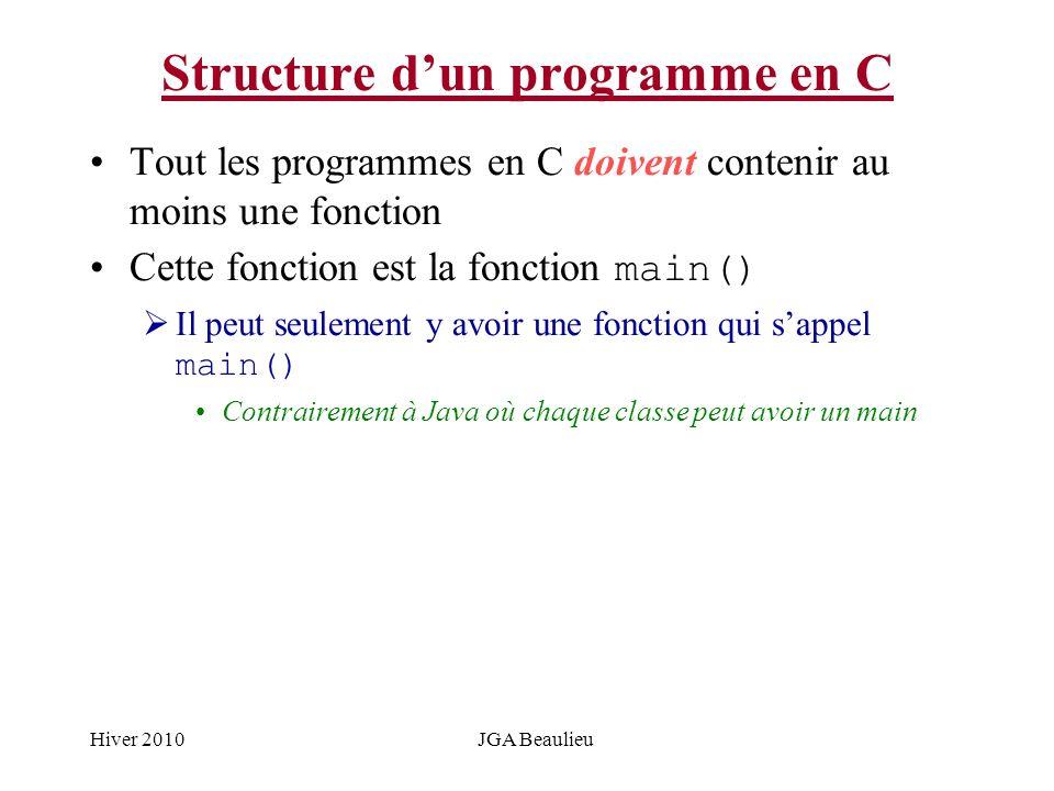 Hiver 2010JGA Beaulieu Structure dun programme en C Tout les programmes en C doivent contenir au moins une fonction Cette fonction est la fonction mai