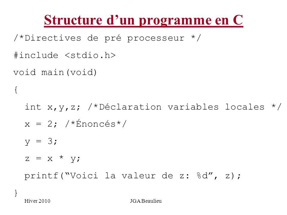 Hiver 2010JGA Beaulieu Structure dun programme en C /*Directives de pré processeur */ #include void main(void) { int x,y,z; /*Déclaration variables lo