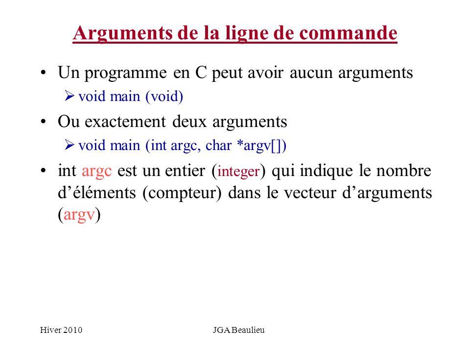 Hiver 2010JGA Beaulieu Arguments de la ligne de commande Un programme en C peut avoir aucun arguments void main (void) Ou exactement deux arguments vo