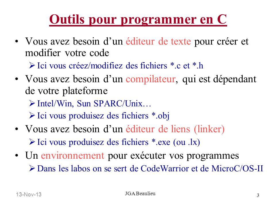 13-Nov-13 14 JGA Beaulieu Arguments de la ligne de commande En regardant le segment de code la ligne dentrée va produire la sortie correspondante : C:\cmdline Bozo Le nombre déléments de lutilisateur: 2 Le nom du programme: CMDLINE Valeur de lutilisateur No.