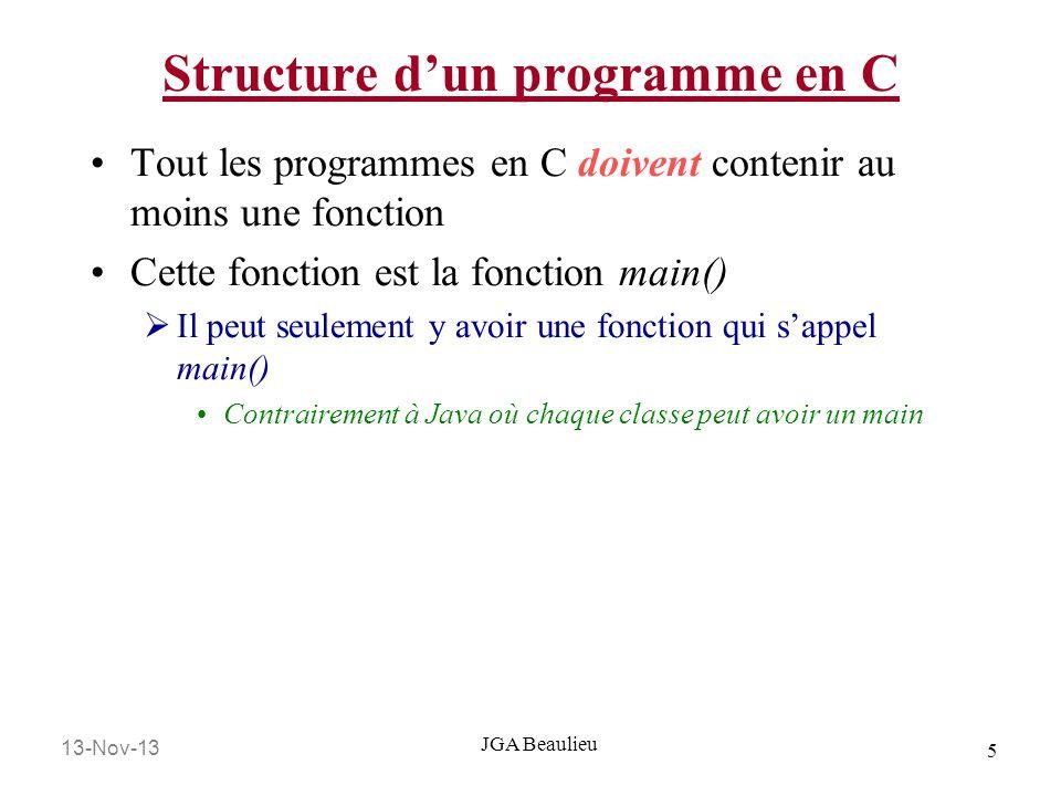 13-Nov-13 6 JGA Beaulieu Structure dun programme en C Tout les programmes en C sont écrits avec une structure bien définit: /*Directives de pré processeur*/ /*Déclaration des variables Globales*/ void main(void) { /*Déclaration des variables locales*/ /*Énoncés*/ }