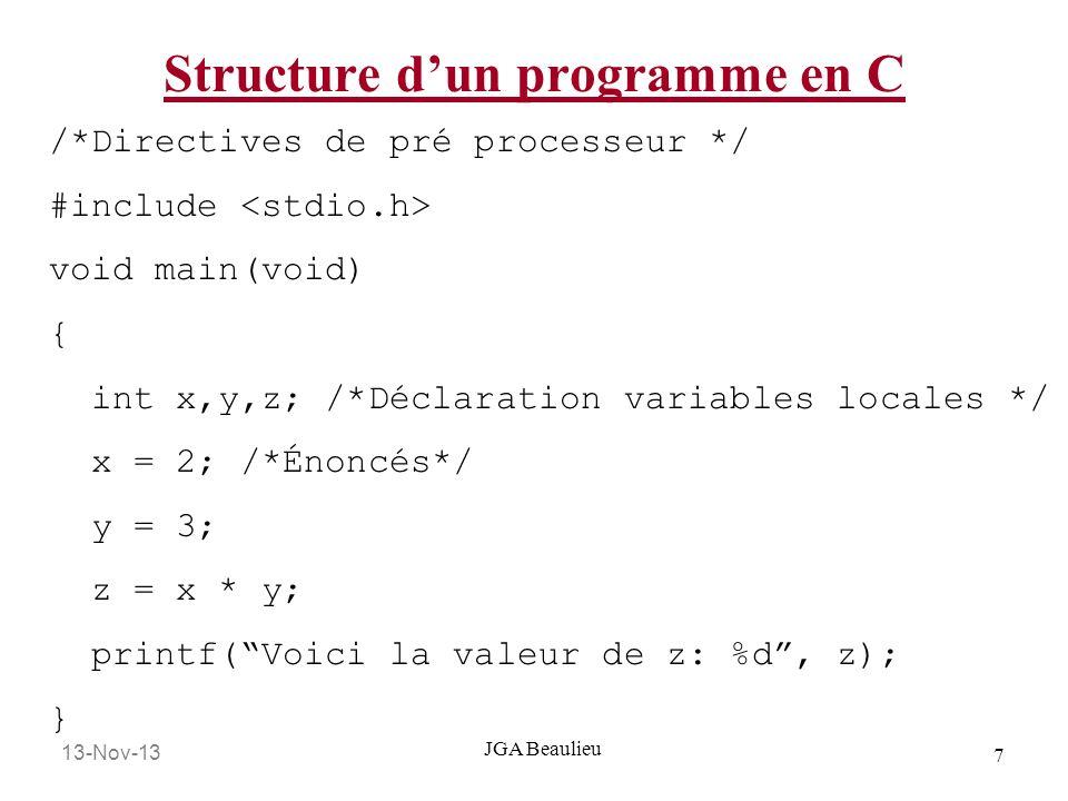 13-Nov-13 18 JGA Beaulieu Convention de nommage Tout les identificateurs (constantes, variables et noms de fonction) devraient avoir des noms qui veulent dire quelque chose.