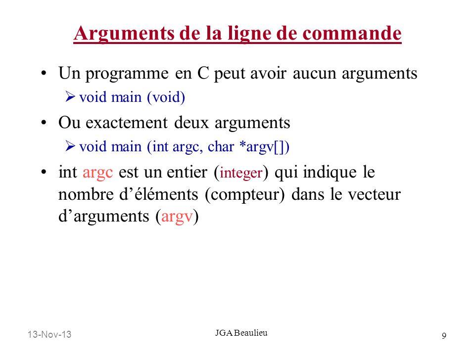 13-Nov-13 10 JGA Beaulieu Arguments de la ligne de commande /0 argv 6 argc Nom du programme