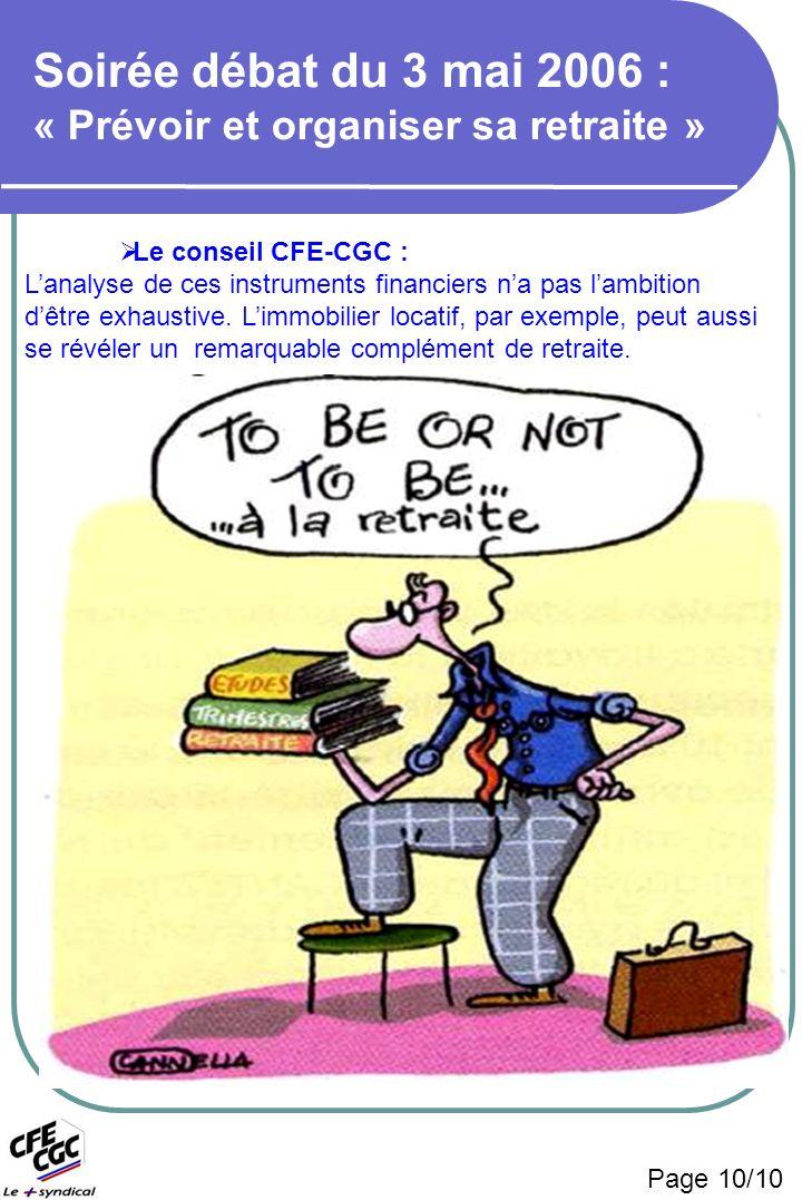 Page 10/10 Soirée débat du 3 mai 2006 : « Prévoir et organiser sa retraite » Le conseil CFE-CGC : Lanalyse de ces instruments financiers na pas lambition dêtre exhaustive.